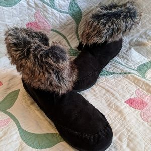 New Madden Girl Black Faux Suede/Fur Booties